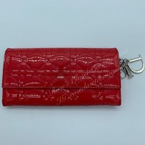 Christian Dior Cannage red patent leather wallet